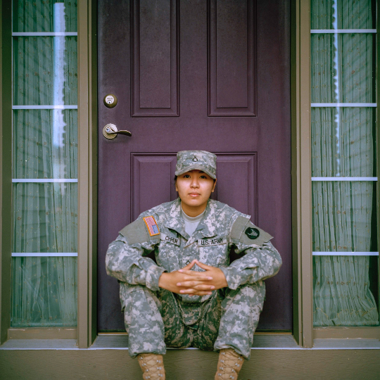 Military Serviceman waiting on opportunity.